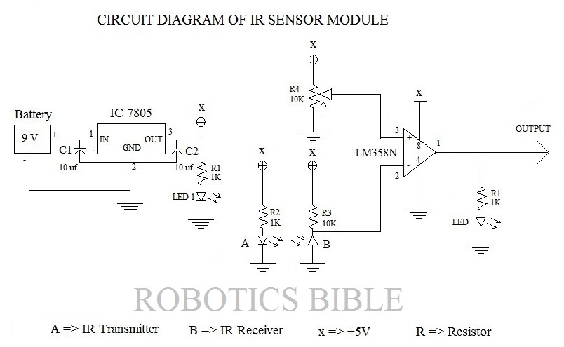 making of ir sensor module robotics bible projects news videos rh roboticsbible com circuit diagram of ir proximity sensor circuit diagram of pir sensor